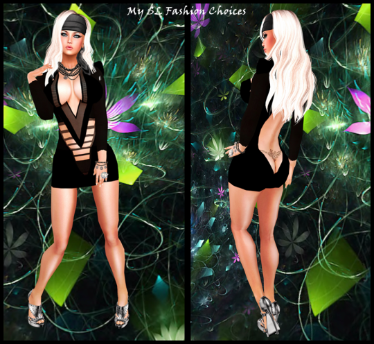 U Freebies, LD Studded Shoes, IAF Black Cut Dress, Olive hair_002