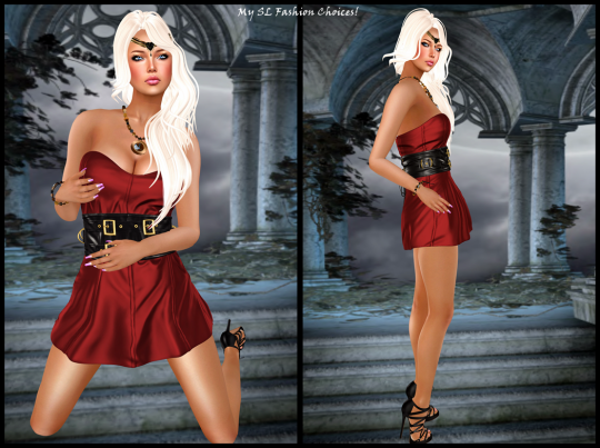 Freebies Soonsiki Hair, Zuri Head Piece, Exquisite Tahoe Necklace & Bracelet, Like Design Belted Dress_001